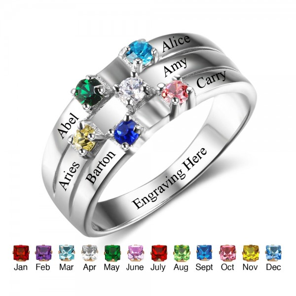 Fashion Silver Stackable Round Cut 6 Stones Birthstone Ring In Sterling Silver
