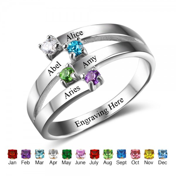 Engravable Silver Stackable Round Cut 4 Stones Birthstone Ring In Sterling Silver