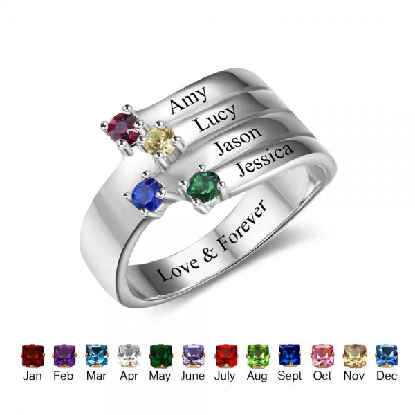 Fashion Silver Stackable Round Cut 4 Stones Birthstone Ring In 925 Sterling Silver
