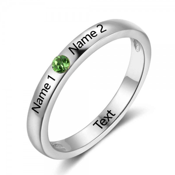 Personalized Silver Trends Round Cut 1 Stone Birthstone Ring In 925 Sterling Silver