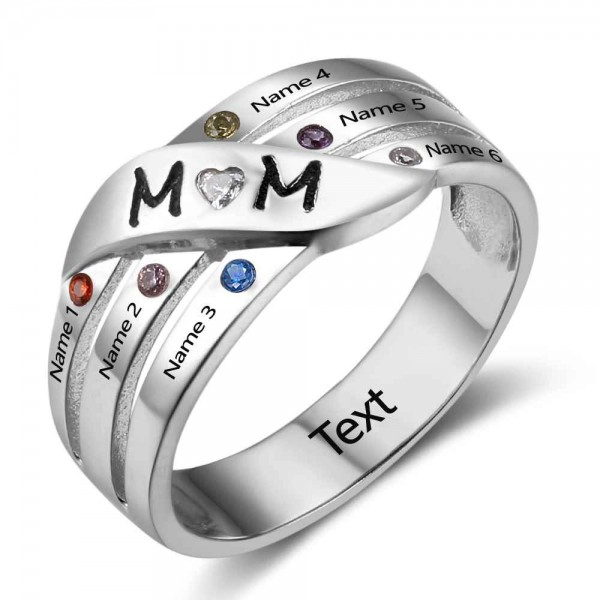 Fashion Silver Family Round Cut 6 Stones Birthstone Ring In 925 Sterling Silver