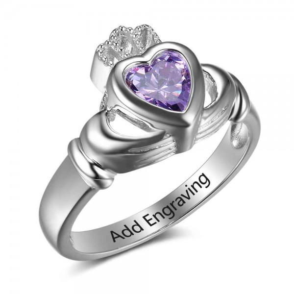 Personalized Silver Claddagh Heart Cut 1 Stone Birthstone Ring