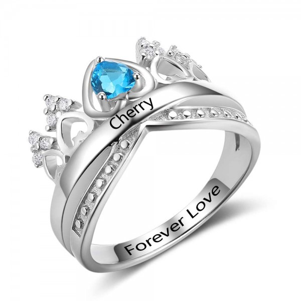 Unique Silver Tiara Heart Cut 1 Stone Birthstone Ring In 925 Sterling Silver