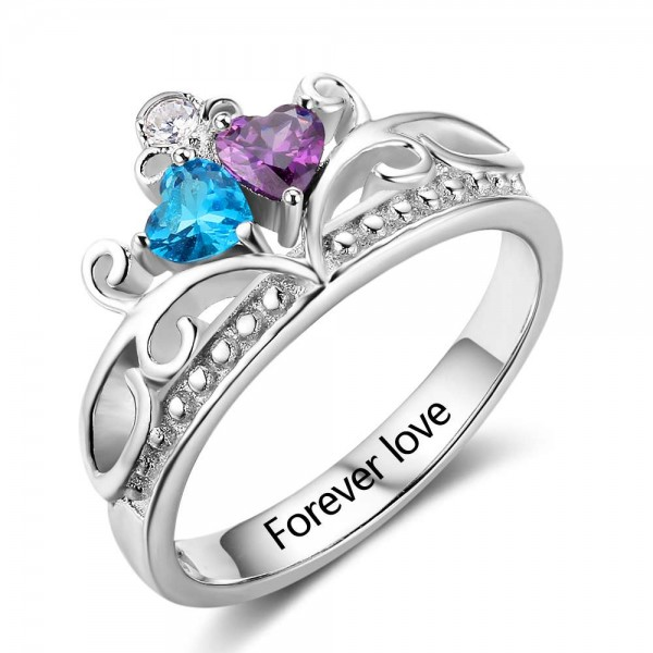 Customized Silver Tiara Heart Cut 2 Stones Birthstone Ring In S925 Sterling Silver