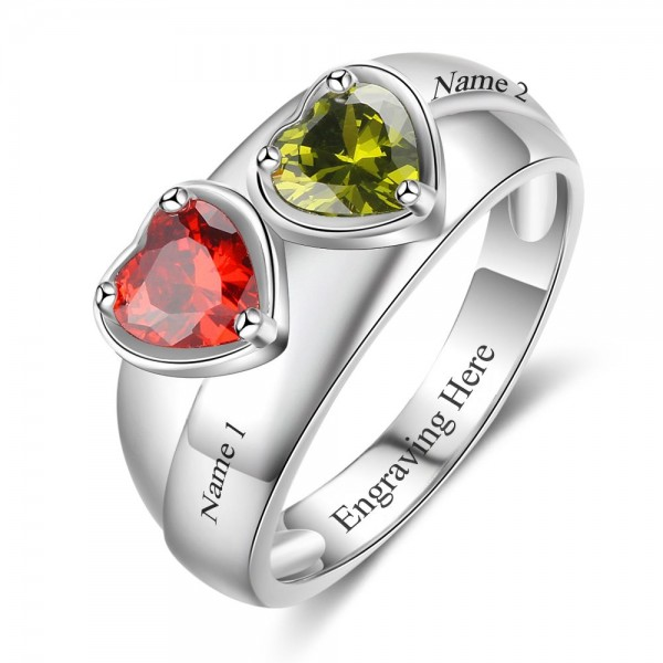 Unique Silver Trends Heart Cut 2 Stones Birthstone Ring In Sterling Silver