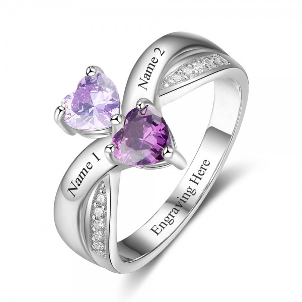 Engravable Silver Symbols Heart Cut 2 Stones Birthstone Ring In Sterling Silver