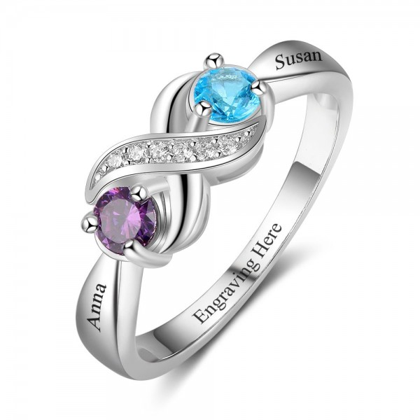 Engravable Silver Infinity Round Cut 2 Stones Birthstone Ring In Sterling Silver