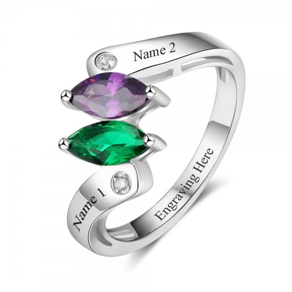Affordable Silver Geometric Marquise Cut 2 Stones Birthstone Ring In S925 Sterling Silver