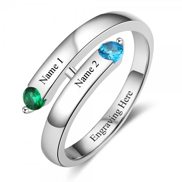 Engravable Silver Trends Round Cut 2 Stones Birthstone Ring In 925 Sterling Silver