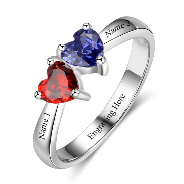 Customized Silver Love Heart Cut 2 Stones Birthstone Ring In S925 Sterling Silver