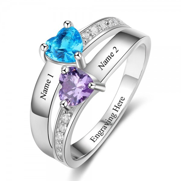 Fashion Silver Solitaire with Side Accent Heart Cut 2 Stones Birthstone Ring In Sterling Silver