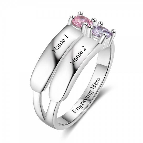 Personalized Silver Trends Round Cut 2 Stones Birthstone Ring In 925 Sterling Silver