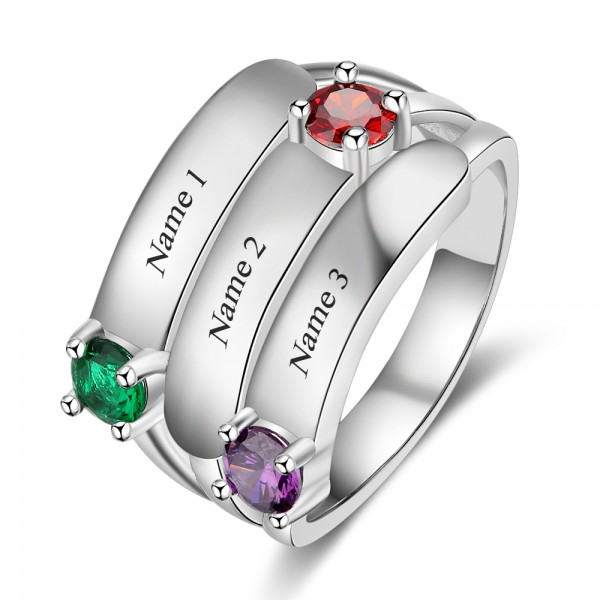 Unique Silver Stackable Round Cut 3 Stones Birthstone Ring In 925 Sterling Silver