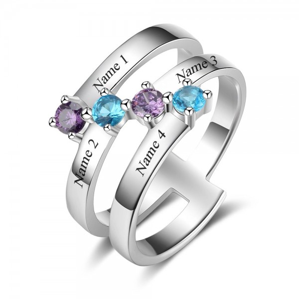 Personalized Silver Stackable Round Cut 4 Stones Birthstone Ring In Sterling Silver