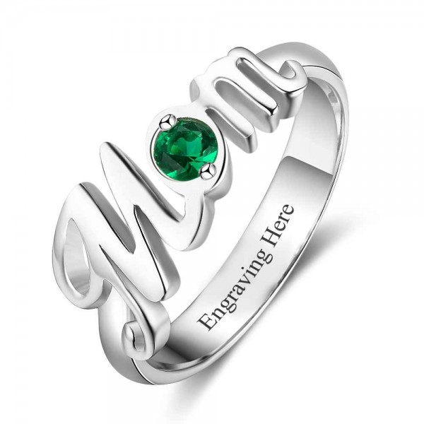 Fashion Silver Symbols Round Cut 1 Stone Birthstone Ring In 925 Sterling Silver