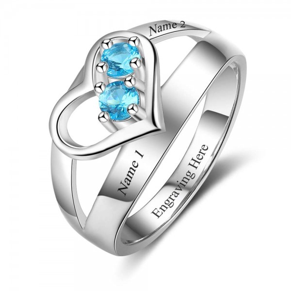 Affordable Silver Heart Round Cut 2 Stones Birthstone Ring In Sterling Silver