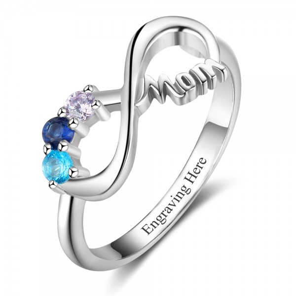 Fashion Silver Family Round Cut 2 Stones Birthstone Ring In Sterling Silver