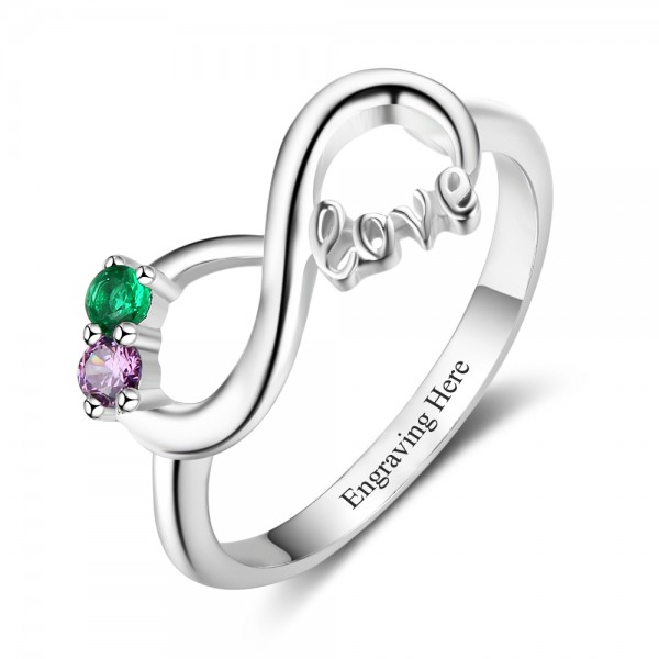 Unique Silver Infinity Round Cut 2 Stones Birthstone Ring In S925 Sterling Silver
