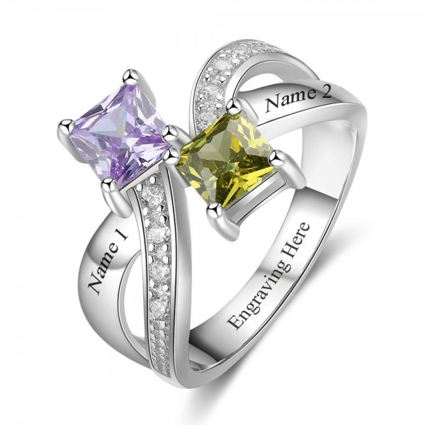 Personalized Silver Knot Princess Cut 2 Stones Birthstone Ring In 925 Sterling Silver