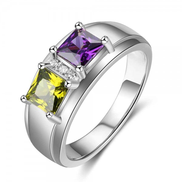 Unique Silver Trends Princess Cut 2 Stones Birthstone Ring In Sterling Silver