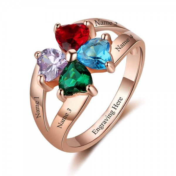 Customized Rose Flowers Heart Cut 4 Stones Birthstone Ring In S925 Sterling Silver