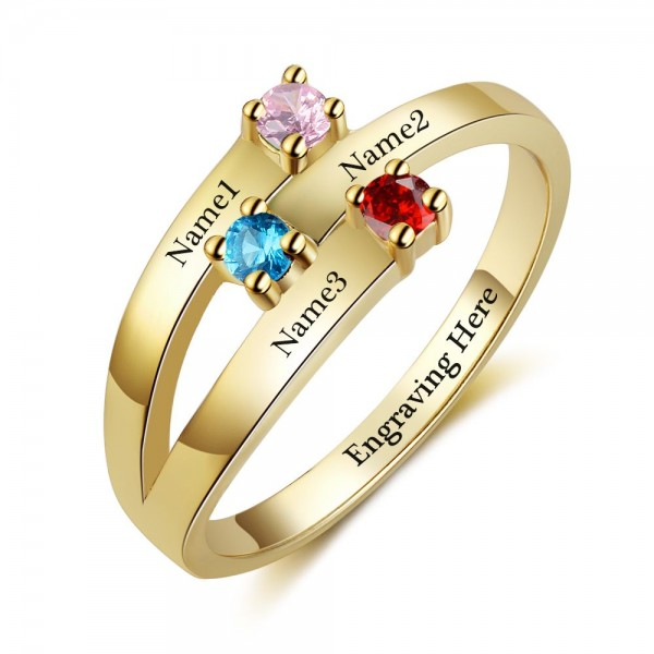 Fashion Yellow Stackable Round Cut 3 Stones Birthstone Ring In Sterling Silver