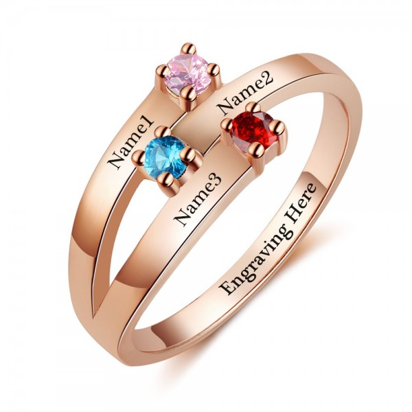 Affordable Rose Stackable Round Cut 3 Stones Birthstone Ring In S925 Sterling Silver
