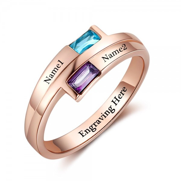 Customized Rose Trends Baguette Cut 2 Stones Birthstone Ring In Sterling Silver
