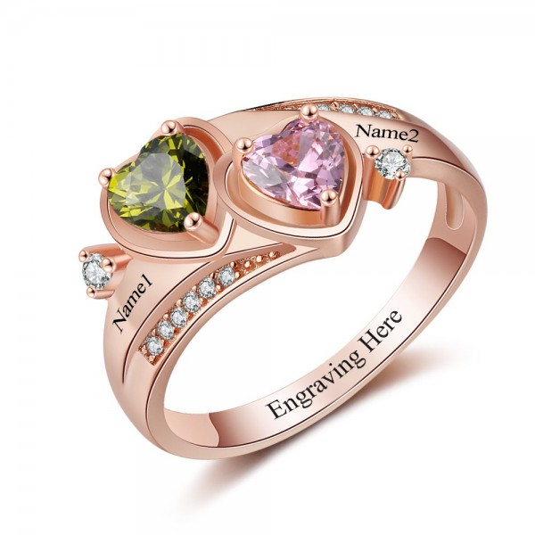 Customized Rose Love Heart Cut 2 Stones Birthstone Ring In Sterling Silver