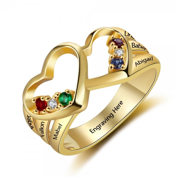Unique Yellow Heart Round Cut 6 Stones Birthstone Ring In 925 Sterling Silver