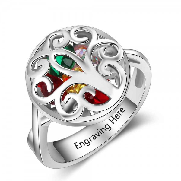 Affordable Silver Cage Heart Cut 6 Stones Birthstone Ring In Sterling Silver