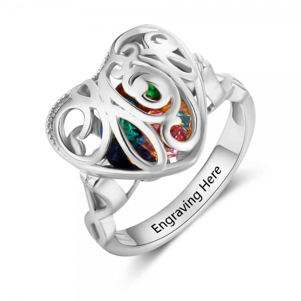 Personalized Silver Cage Heart Cut 6 Stones Birthstone Ring In 925 Sterling Silver