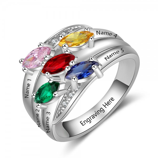Affordable Silver Family Marquise Cut 5 Stones Birthstone Ring In Sterling Silver
