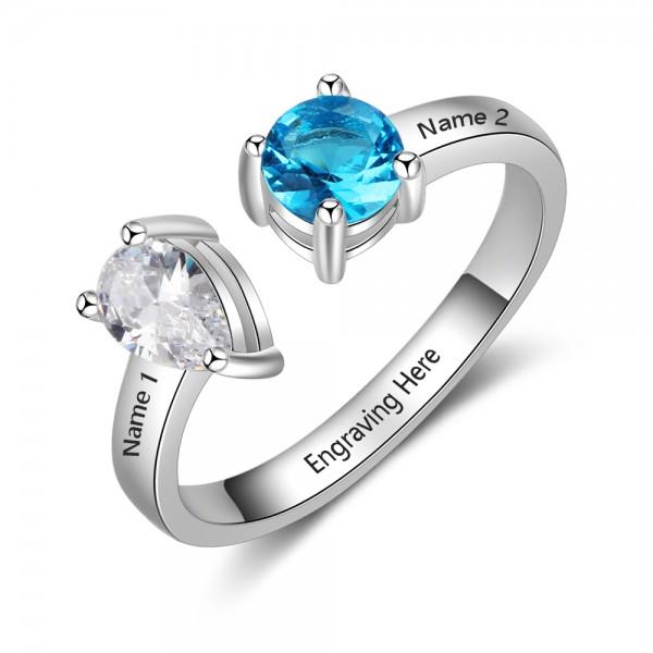 Fashion Silver Love Pear Cut, Round Cut 2 Stones Birthstone Ring In Sterling Silver