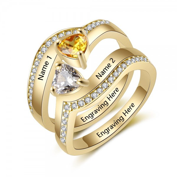 Customized Yellow Solitaire with Side Accent Heart Cut 2 Stones Birthstone Ring In Sterling Silver