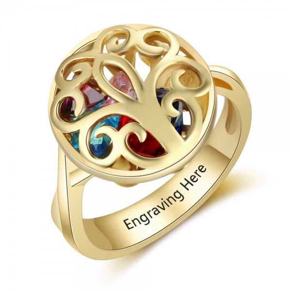 Affordable Yellow Cage Heart Cut 6 Stones Birthstone Ring In S925 Sterling Silver