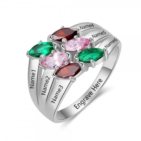 Unique Silver Stackable Marquise Cut 6 Stones Birthstone Ring In 925 Sterling Silver