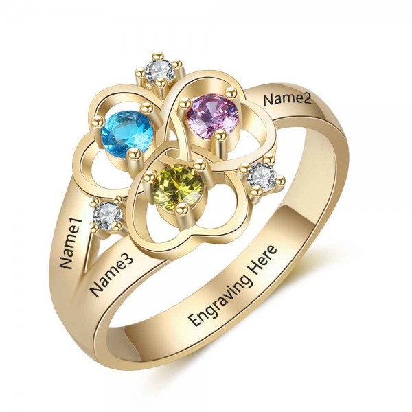 Affordable Yellow Symbols Round Cut 3 Stones Birthstone Ring In S925 Sterling Silver
