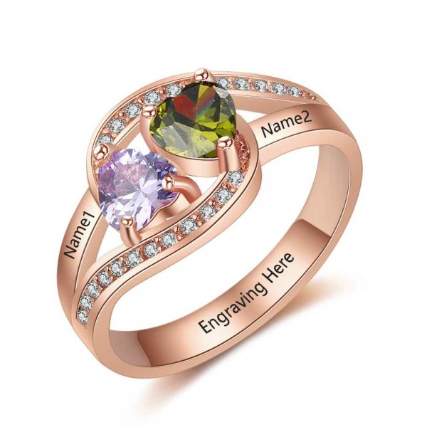 Affordable Rose Love Heart Cut 2 Stones Birthstone Ring In S925 Sterling Silver