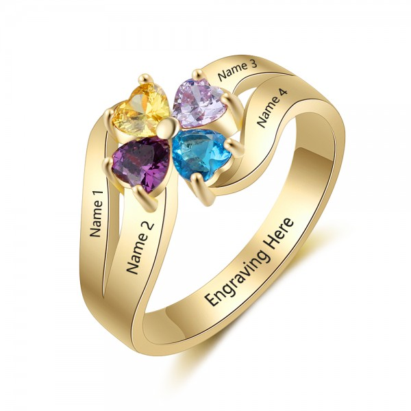 Personalized Yellow Flowers Heart Cut 4 Stones Birthstone Ring In Sterling Silver