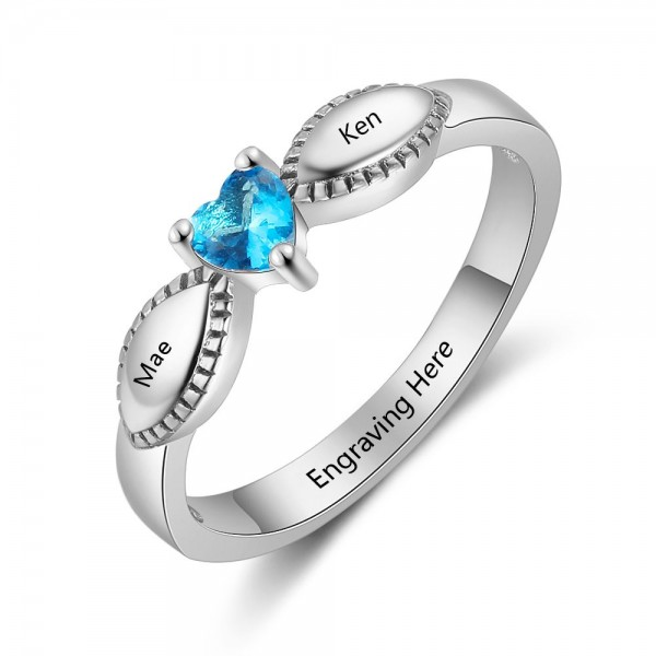 Affordable Silver Love Heart Cut 1 Stone Birthstone Ring In S925 Sterling Silver
