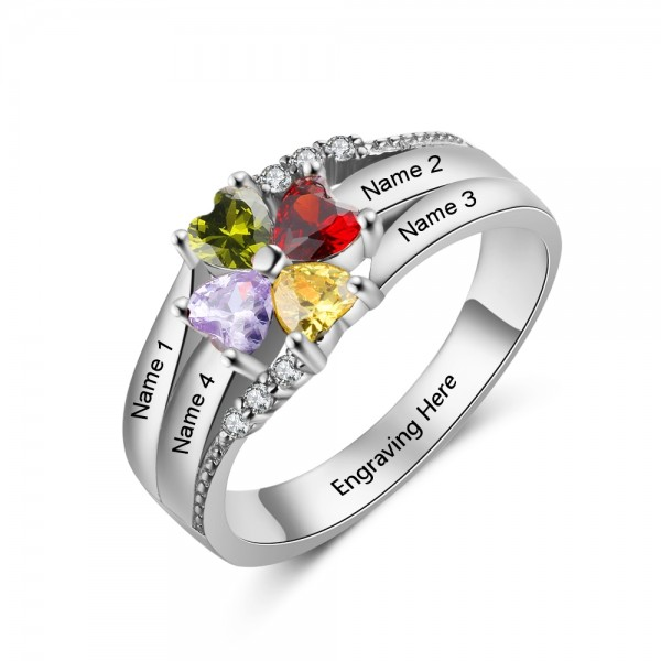 Customized Silver Stackable Heart Cut 4 Stones Birthstone Ring In S925 Sterling Silver
