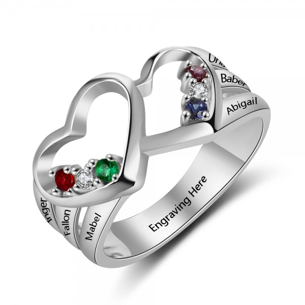 Customized Silver Heart Round Cut 6 Stones Birthstone Ring In S925 Sterling Silver