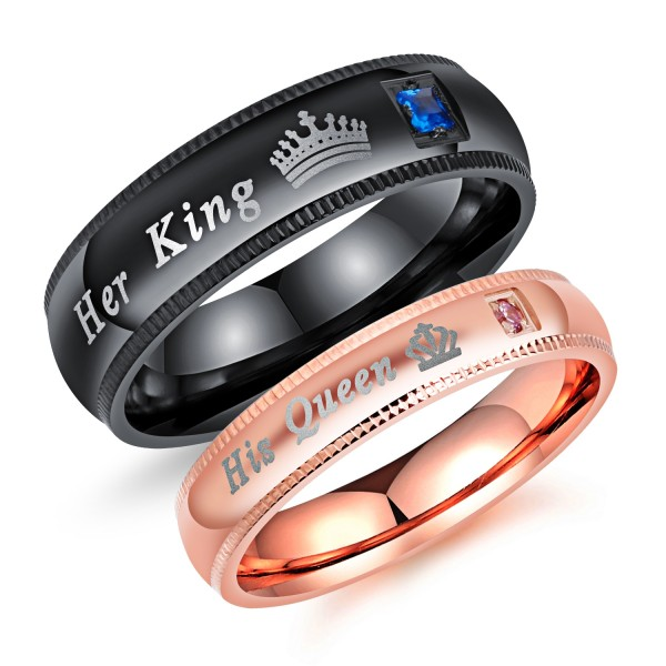 Black and Rose Her King His Queen Couple Rings In Stainless Steel with Round Cut Gemstones