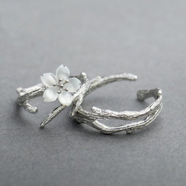 Adjustable White Snow Cherry Promise Ring For Couple In Sterling Silver
