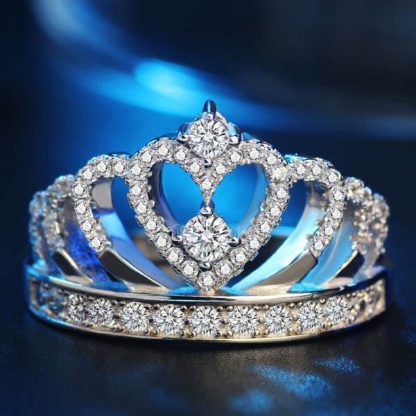 Halo Princess Crown Promise Ring In 925 Sterling Silver With Silver Or Rose optional