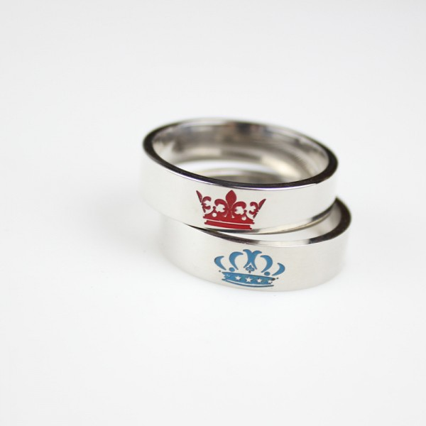 White Simple King Queen Rings For Couples In Titanium