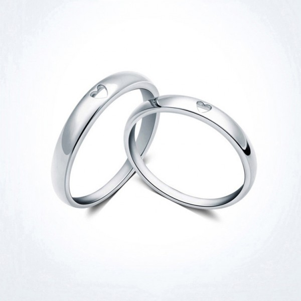 Simple 925 Sterling Silver Heart Shaped Couple Rings For Valentine's Day present