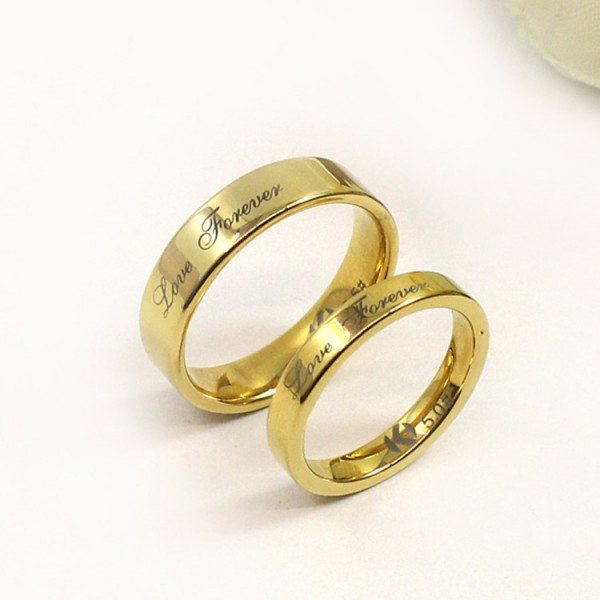 18K Gold plating Love Forever Promise Rings For Couples In Tungsten