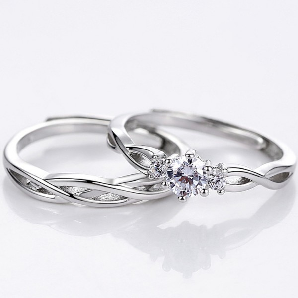 Adjustable Knot Promise Ring For Couples Infinity love In 925 Sterling Silver
